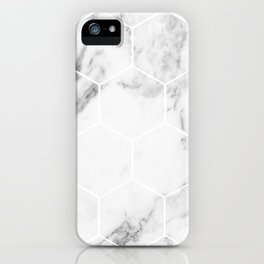 White marble hexagonal beehive iPhone Case