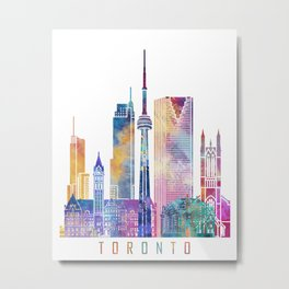 Toronto skyline landmarks in watercolor Metal Print
