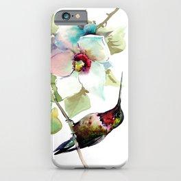 Hummingbird and White Magnolia iPhone Case