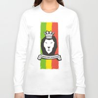 rasta Long Sleeve T-shirts featuring Rasta Lion by Awesome