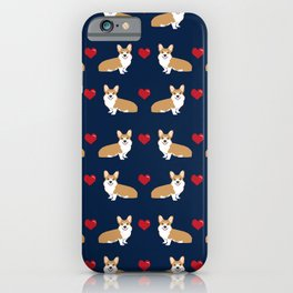 Corgi love hearts valentines day pet gifts love welsh corgi dog breeds pet friendly pattern iPhone Case