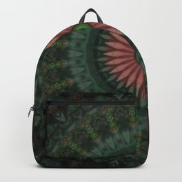 Ornamented mandala with red flower Backpack