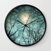 fault Wall Clocks featuring Nature Blazes Before Your Eyes (Mint Embers) by soaring anchor designs
