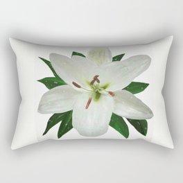 White Lily in the Rain Rectangular Pillow