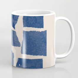Watercolor collage, Paper Collage, Blue and Beige Coffee Mug