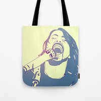 dave grohl Tote Bags featuring Dave Grohl by Giuseppe Cristiano