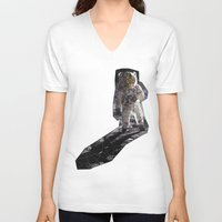 geode V-neck T-shirts featuring Geode Face IV by hunnydoll