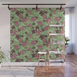 Purple Shamrock Floral Layered Pattern / Green Wall Mural