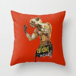 Pug Muay Thai Throw Pillow