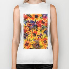 Golden Sunflower Garden Biker Tank