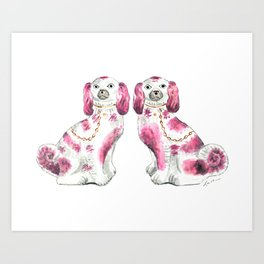 Pair of Staffordshire Dogs in Pink Art Print