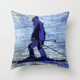 Sundown Skier Throw Pillow