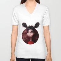 bjork V-neck T-shirts featuring Caricature for a Bjork by Alexander Novoseltsev