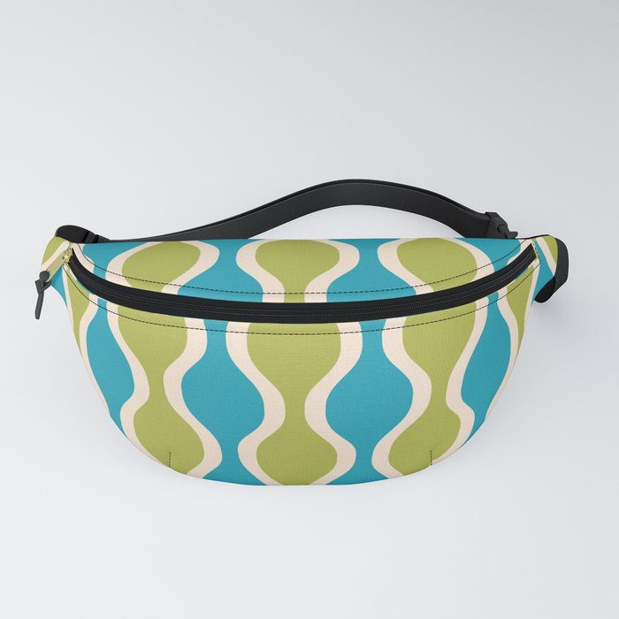 Classic Retro Ogee Pattern 852 Turquoise and Olive Fanny Pack