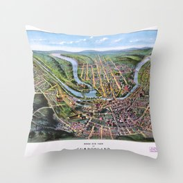 CUMBERLAND MARYLAND city old map Father Day art print poster Throw Pillow