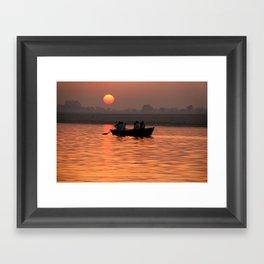 Rowing Boat on the Ganges at Sunrise Framed Art Print