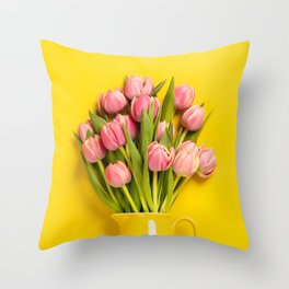 Fresh pink tulips in a jug, close up Throw Pillow