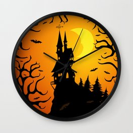 Scary dark forest with a fairy castle on top of the mountain lit by the bright light of the moon Wall Clock