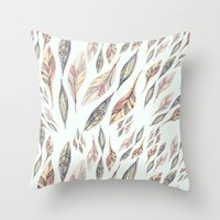 feathers Throw Pillows featuring Feathers by Vasare Nar