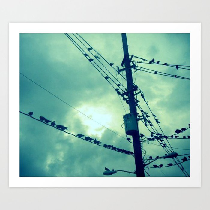 Old Fashioned Birds On Telephone Wire Art Elaboration - Schematic ...