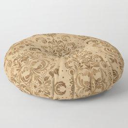 Oriental Damask Pattern Pastel gold Floor Pillow