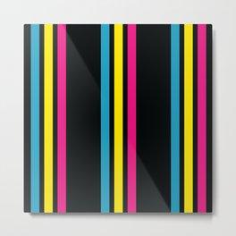 Stripes on Black Metal Print
