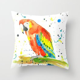 Parrot (Scarlet Macaw) - Watercolor Painting Print Throw Pillow