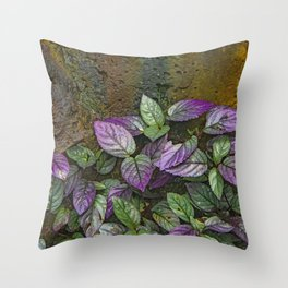 Purple and Green Leaves on Multi-Colored Bark Throw Pillow