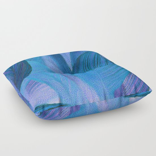 Exotic Floor Pillows : Exotic Leaves with Translucent Floral Pattern Floor Pillow by Klara Acel Society6