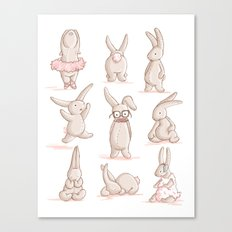 Cute Bunnies, Playing Dress Up, Pink, Disguise Canvas Print