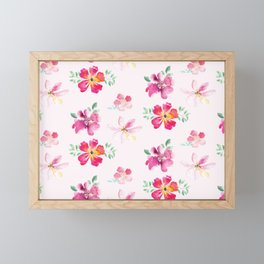 Pink flower dance Framed Mini Art Print