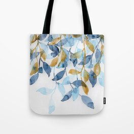 Blue and Gold watercolor leaves painting Tote Bag