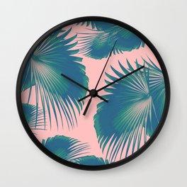 Fan Palm Leaves Paradise #10 #tropical #decor #art #society6 Wall Clock