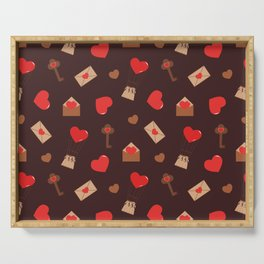 With Love. seamless  pattern red hearts,envelopes and keys Serving Tray