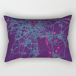 Augsburg Neon City Map, Augsburg Minimalist City Map Art Print Rectangular Pillow