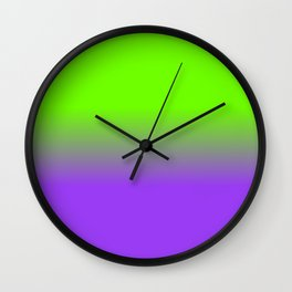 Neon Purple and Neon Green Ombré  Shade Color Fade Wall Clock