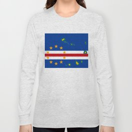 Cape Verde Flag with Map of the Cape Verde Islands Long Sleeve T-shirt