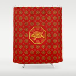 Golden Tortoise / Turtle Feng Shui on red Shower Curtain