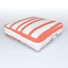 Simply Drawn Stripes in Deep Coral Outdoor Floor Cushion