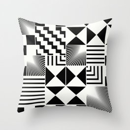 Mosaic Black And White Pattern Throw Pillow