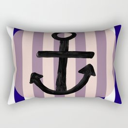 Nautical Anchor Blue White and Pink Rectangular Pillow