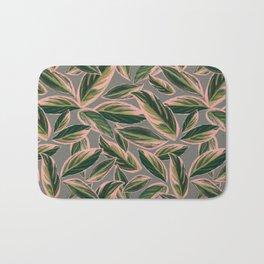 Calathea Leaves Pattern- Pink Green Gray Bath Mat