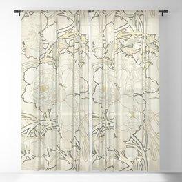 """Alphonse Mucha """"Peonies"""" Sheer Curtain"""