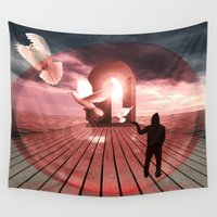 surrealism Wall Tapestries featuring surrealism  by mark ashkenazi