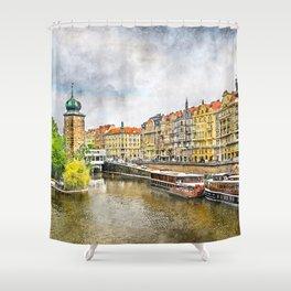 Praha city art #praha #prague Shower Curtain
