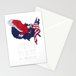 Biden Is Not My President Election Vintage Retro Anti Biden T-Shirt Stationery Cards