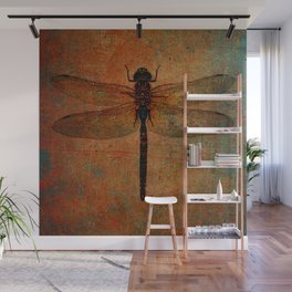 Dragonfly On Orange and Green Background Wall Mural