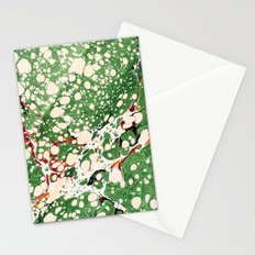 Marbled Green Bubbles Stationery Cards