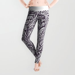 Purple white hand painted tribal bohemian feathers pattern Leggings