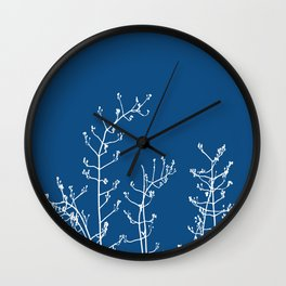 Elegant Floral on Classic Blue, Color of the Year 2020 Wall Clock